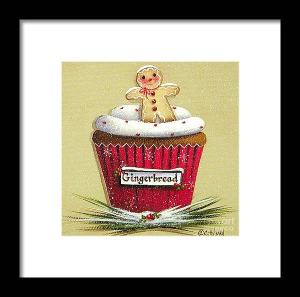 Art Framed Print featuring the painting Gingerbread Cookie Cupcake by Catherine Holman