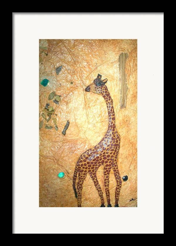 Giraffe Framed Print featuring the mixed media Giraffe  Sold by Tinsu Kasai
