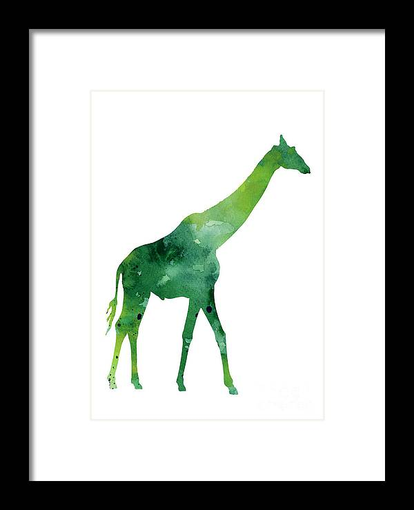 Abstract Framed Print featuring the painting Giraffe African Animals Gift Idea by Joanna Szmerdt
