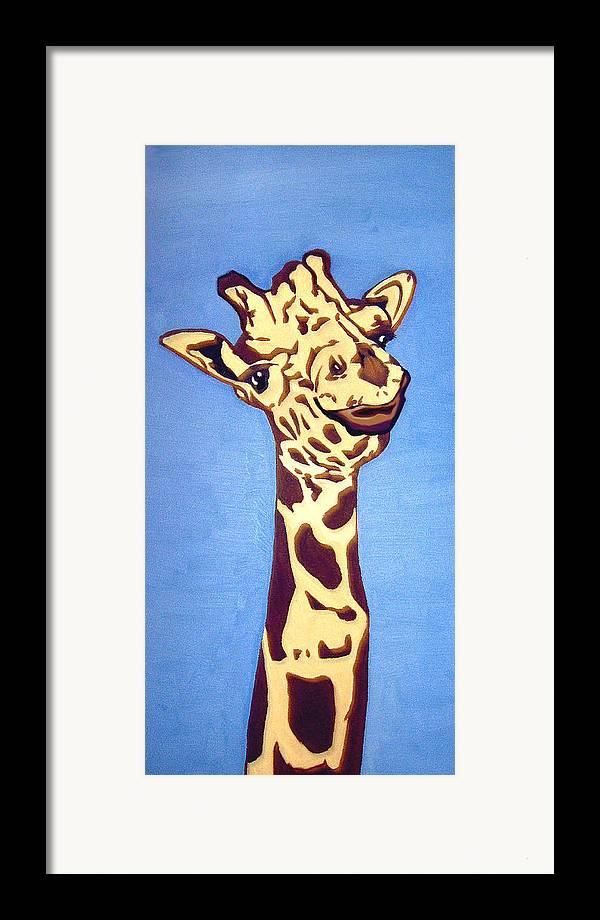 Art Framed Print featuring the painting Giraffe by Darren Stein