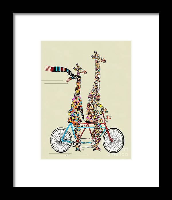 Giraffes Framed Print featuring the painting Giraffe Days Lets Tandem by Bri Buckley