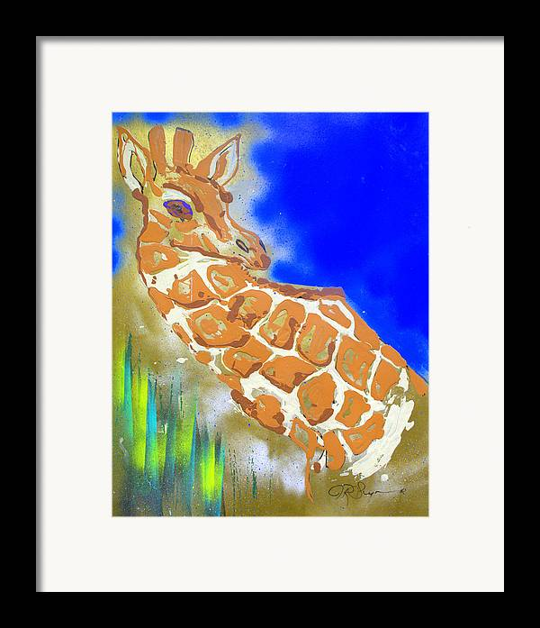 Giraffe Framed Print featuring the painting Giraffe by J R Seymour