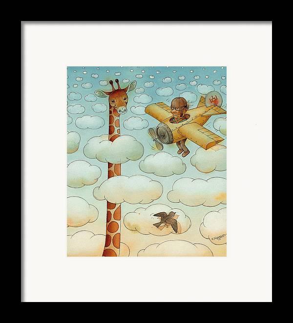 Airplane Sky Flying Giraffe Cloud Pilot Patriotizm Framed Print featuring the painting Giraffe by Kestutis Kasparavicius