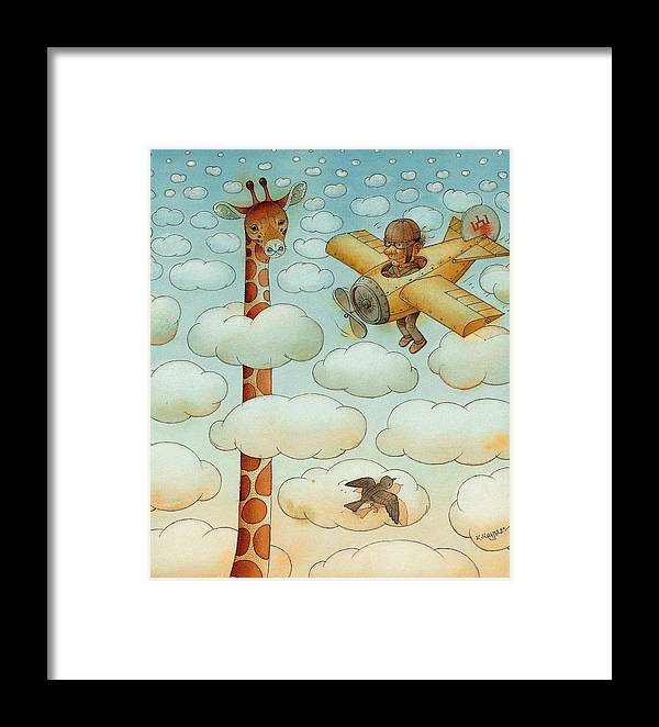 Airplane Sky Flying Giraffe Cloud Pilot Patriotizm Framed Print featuring the painting Giraffe by Kestutis Kasparavicius