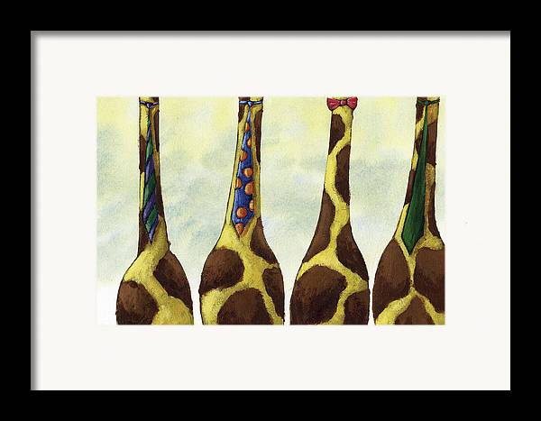 Giraffe Framed Print featuring the painting Giraffe Neckties by Christy Beckwith