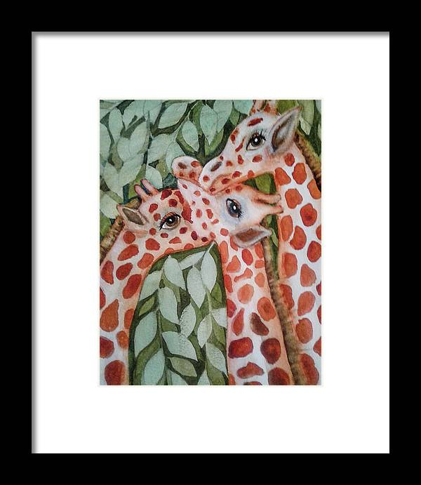 Painting Framed Print featuring the painting Giraffe Trio By Christine Lites by Allen Sheffield