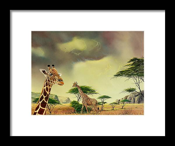 Landscape Framed Print featuring the painting Giraffes At Thabazimba by Don Griffiths