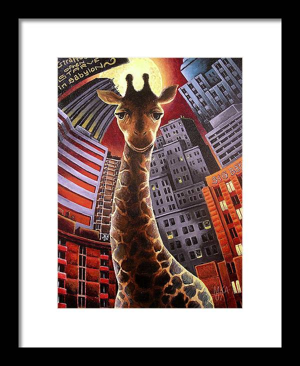 Giraffe City Babylon Surreal Framed Print featuring the painting Giraffes Often Starve In Babylon by Marcus Anderson