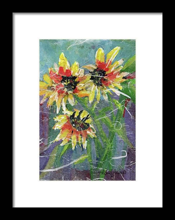 Sun Framed Print featuring the painting Girasoles by Sole Avaria