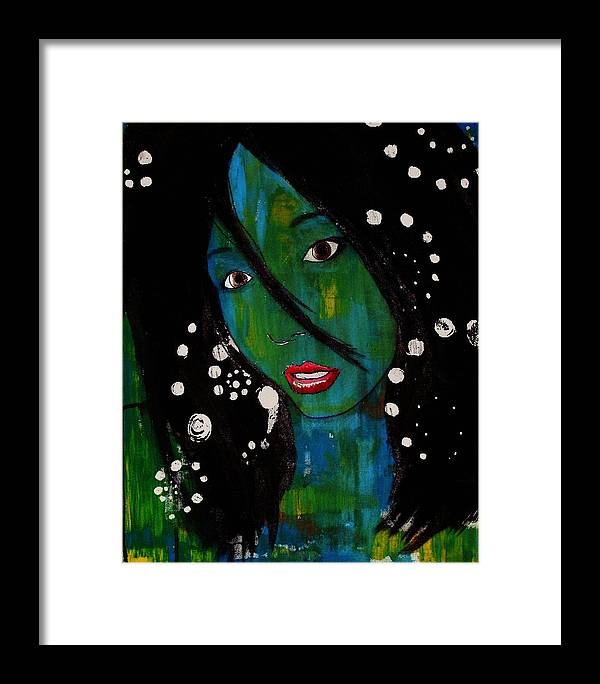 Girl Framed Print featuring the painting Girl 8 by Josean Rivera