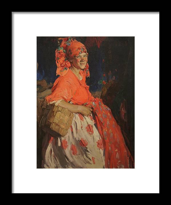 Abram Arkhipov Framed Print featuring the painting Girl by Abram Arkhipov