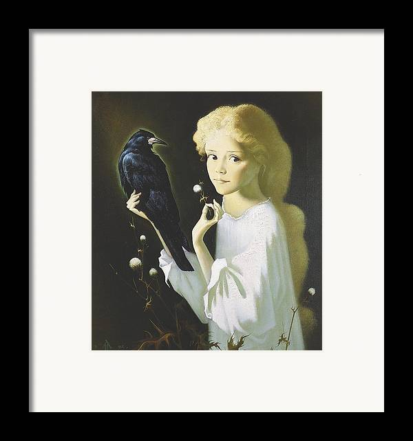 Portrait Framed Print featuring the painting Girl And Bird by Andrej Vystropov