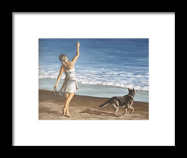 Portrait Girl Beach Dog Seascape Sea Children Figure Figurative Framed Print featuring the painting Girl And Dog by Natalia Tejera