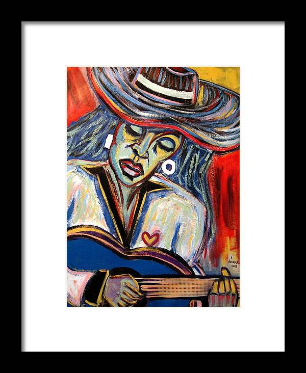 Woman Framed Print featuring the painting Girl And Her Guitar by Albert Almondia