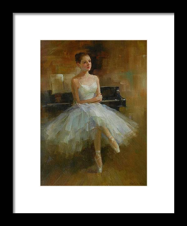 Figurative Painting Framed Print featuring the painting Girl And Piano by Kelvin Lei