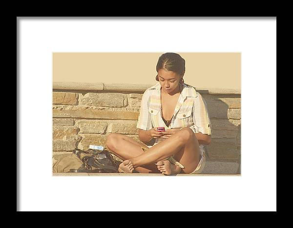 Girl Framed Print featuring the photograph Girl At Brick Wall by Viktor Savchenko