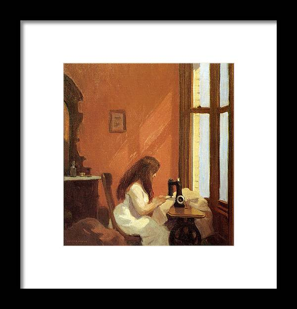 Edward Hopper Framed Print featuring the painting Girl At Sewing Machine by Edward Hopper