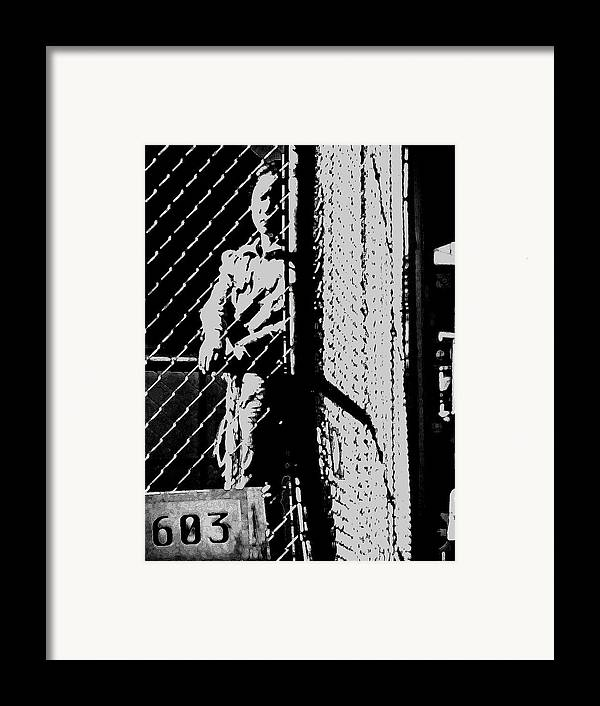 People Framed Print featuring the digital art Girl Behind The Fence by Donna Thomas