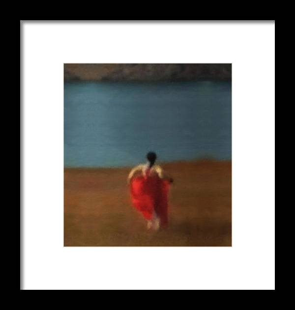 Girl Framed Print featuring the painting Girl By River-iii by Kunchar Asthula