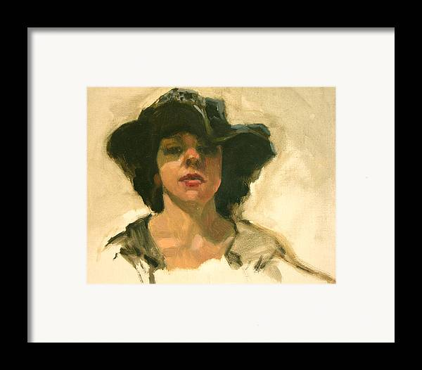 Portrait Framed Print featuring the painting Girl In A Floppy Hat by Merle Keller
