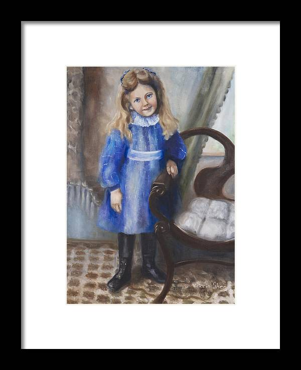 Portrait Framed Print featuring the painting Girl In Blue by Victoria Shea