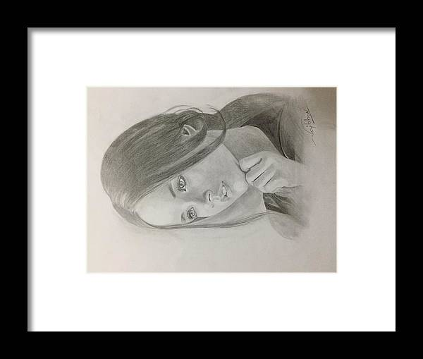 Framed Print featuring the drawing Girl In Deep Thoughts by Vaibhav singh Sengar