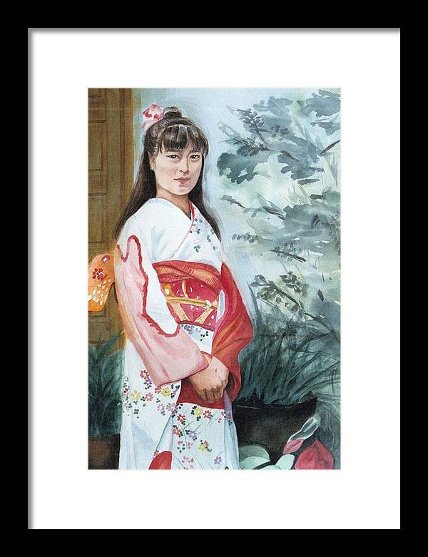 Japanese Girl In Kimono Framed Print featuring the painting Girl in Kimono by Judy Swerlick