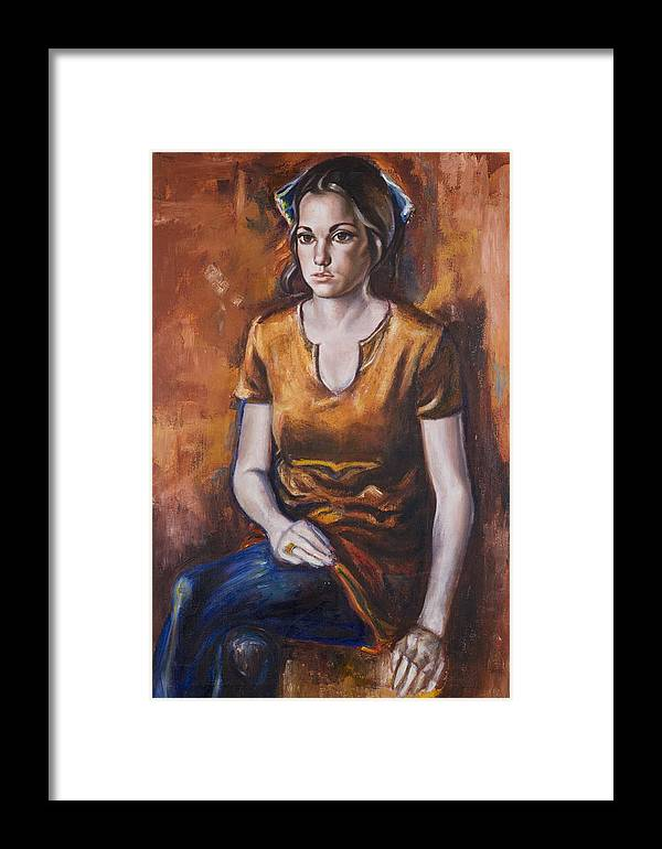 Portrait Framed Print featuring the painting Girl In Orange by Victoria Shea
