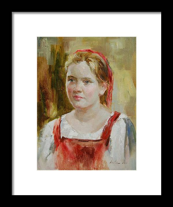 Portrait Framed Print featuring the painting Girl In Red by Kelvin Lei