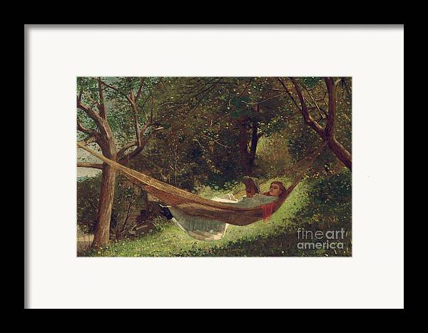 Girl In The Hammock Framed Print featuring the painting Girl In The Hammock by Winslow Homer