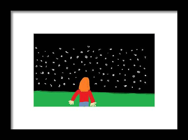Children Framed Print featuring the digital art Girl In The Starry Night by Arianna