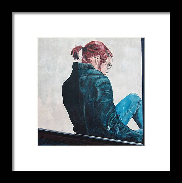 Kevin Callahan Framed Print featuring the painting Girl In The Window-sfai by Kevin Callahan