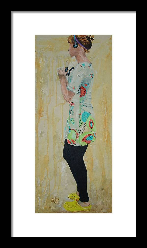 Portrait Framed Print featuring the painting Girl In The Yellow Shoes by Kevin Callahan