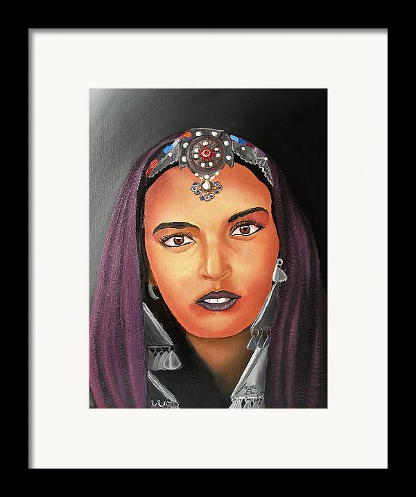 This One Is An Original Work Of Art! It Would Be A Great Buy For The Morocco Lover!!!!!! Framed Print featuring the painting Girl Of Morocco by Portland Art Creations