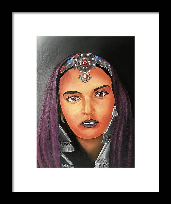 This One Is An Original Work Of Art! It Would Be A Great Buy For The Morocco Lover!!!!!! Framed Print featuring the painting Girl Of Morocco by Dunbar's Modern Art
