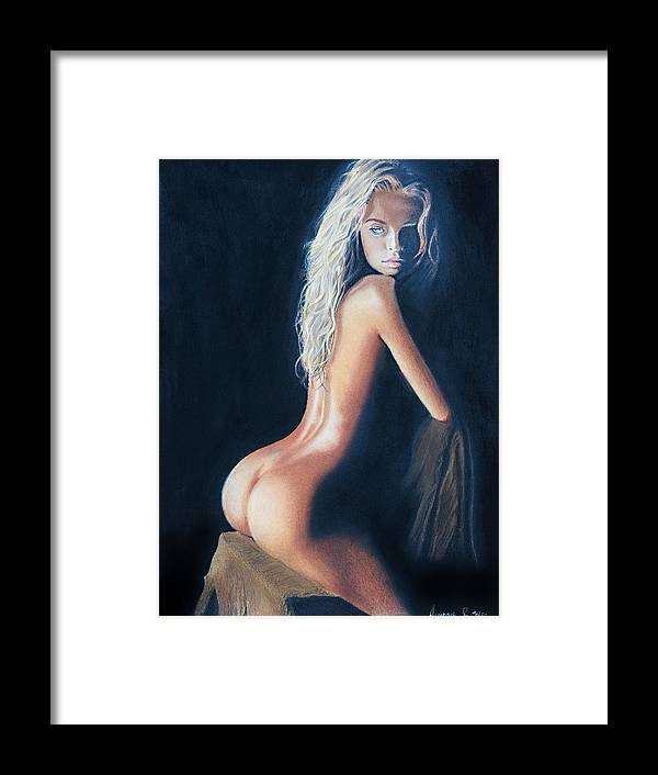 Nude Framed Print featuring the painting Girl On A Chair by Raymond Potts