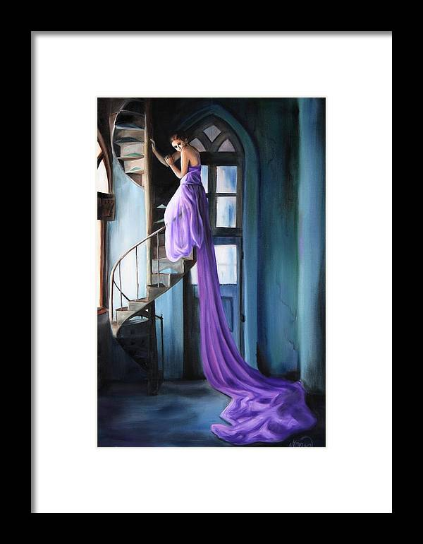 Girl Framed Print featuring the painting Girl On Staircase by Maryn Crawford