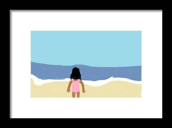 Children Framed Print featuring the digital art Girl On The Beach by Arianna