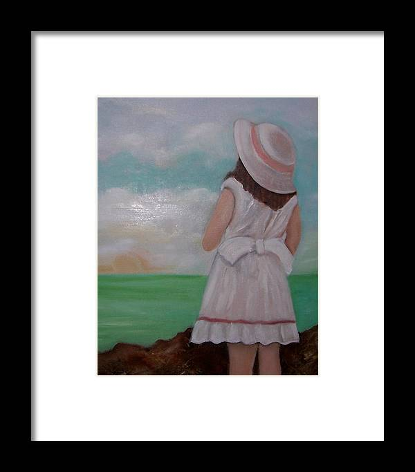 Children Framed Print featuring the painting Girl On The Beach by Martha Mullins