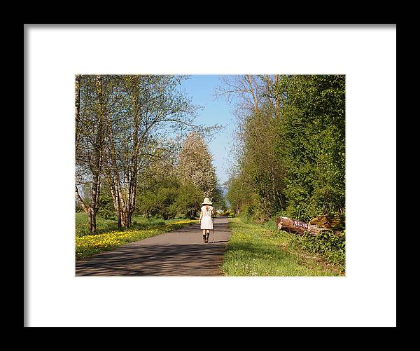 Girl In Straw Hat Framed Print featuring the photograph Girl On Trail In Straw Hat by Nancy Clendaniel