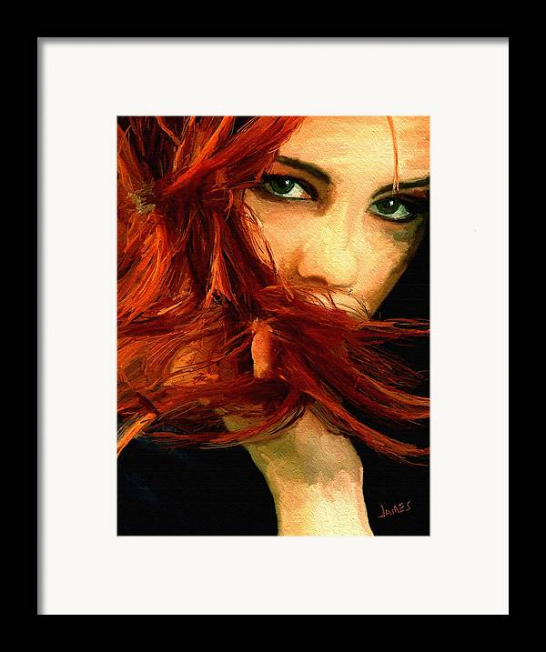 Impressionism Framed Print featuring the painting Girl Portrait 08 by James Shepherd