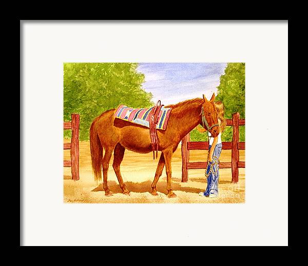 Equine Framed Print featuring the painting Girl Talk by Stacy C Bottoms