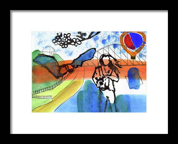 Girl Framed Print featuring the mixed media Girl With A Bat by Radka Zimova King