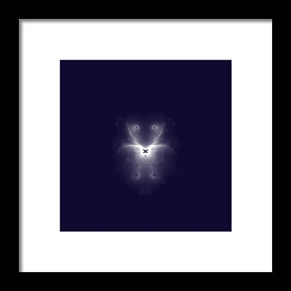 Abstract Framed Print featuring the digital art Girl With A Butterfly Fine Fractal by Piece of Infinity
