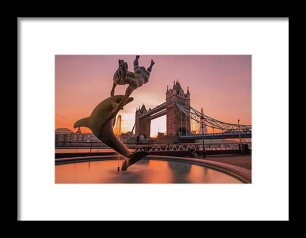 Dolphin Framed Print featuring the photograph Girl With A Dolphin by Paul Hennell