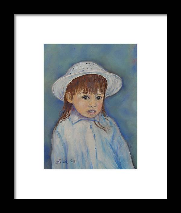 Girl Framed Print featuring the painting Girl With A Hat by Loretta Luglio