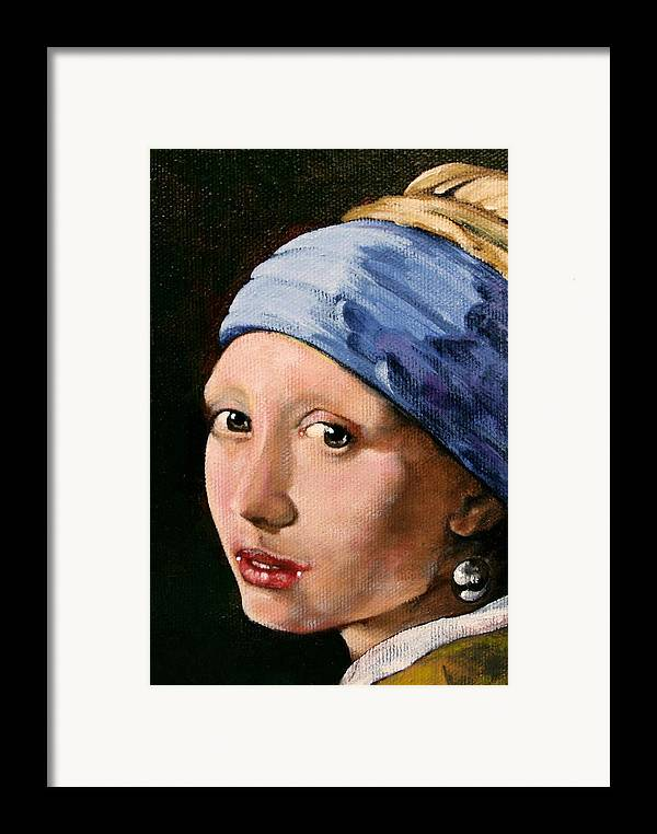 Portrait Framed Print featuring the painting Girl With A Pearl Earring A Reproduction Of Vermeer by Joan Garcia