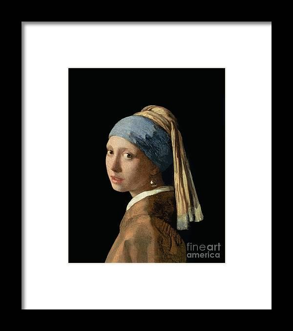 Jan Vermeer Framed Print featuring the painting Girl With A Pearl Earring by Jan Vermeer