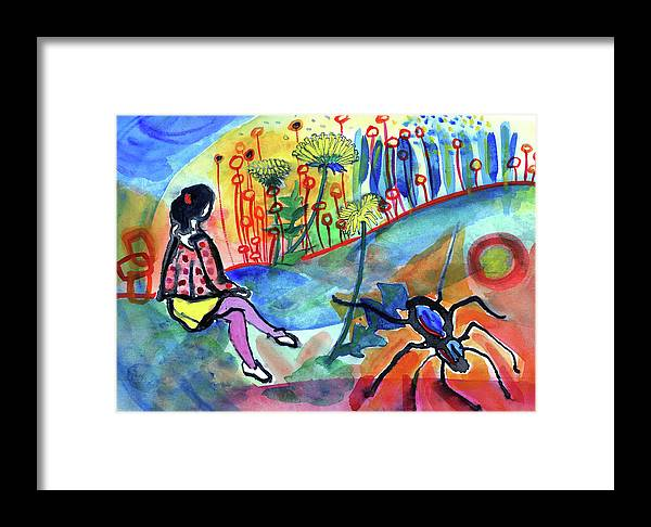 Watercolor Framed Print featuring the mixed media Girl With A Spider by Radka Zimova King