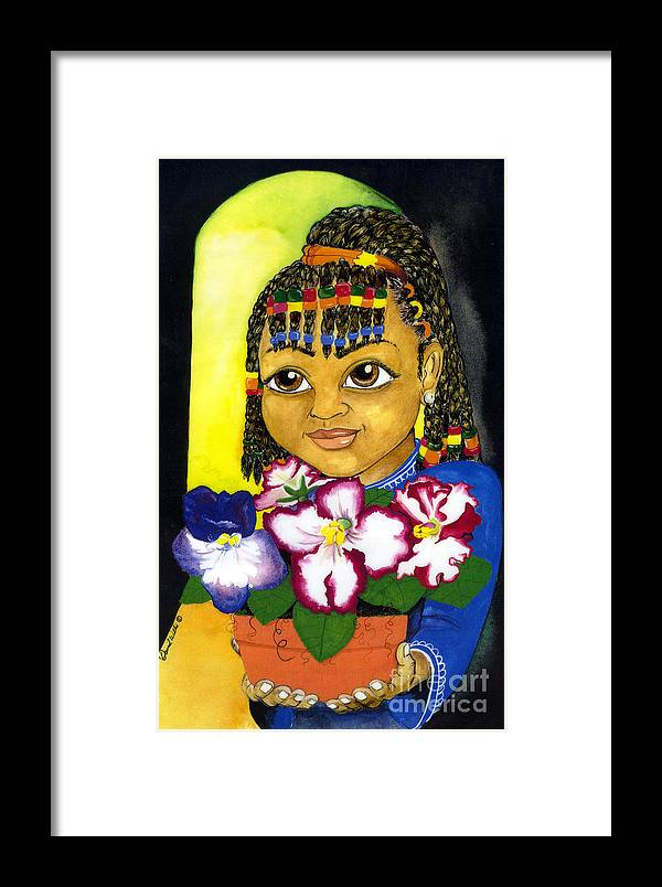 Girl Framed Print featuring the painting Girl With African Violet by David Willis